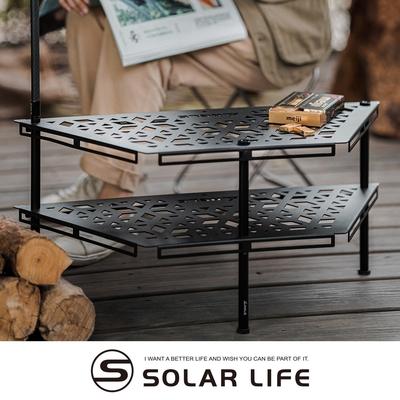 ANGLE MEZA 多功能露營桌 梯型組合桌(黑).六角鐵桌 烤肉圍爐桌 梯形露營層架 雙層置物架 風格露營附收納袋