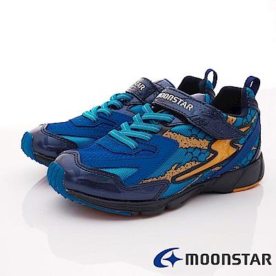 日本月星頂級競速童鞋 2E勝戰獸運動系列 EI375藍(中大童段)