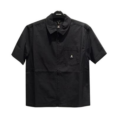 CONVERSE SHORT SLEEVE ZIP FRONT SHIRT 短袖襯衫 男款 女款 黑色 10022015-A03