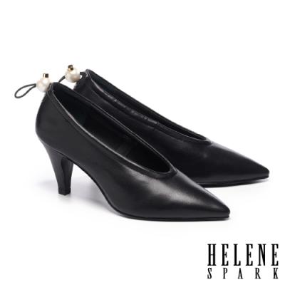 高跟鞋 HELENE SPARK 復古質感珍珠鬆緊帶全真皮尖頭高跟鞋-黑