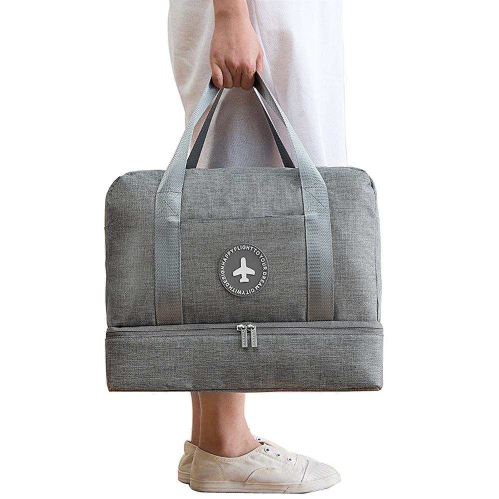 PUSH!旅遊用品防水乾濕分離手提行李包行李收納包鞋包沙灘包大容量灰色S52