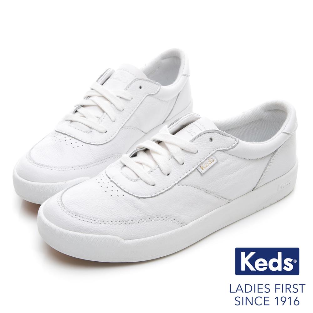 Keds MATCH PIONT 經典復刻皮革休閒鞋-白