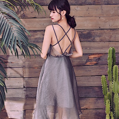 DABI 韓國風名媛氣質性感露背吊帶亮絲歐根紗無袖洋裝