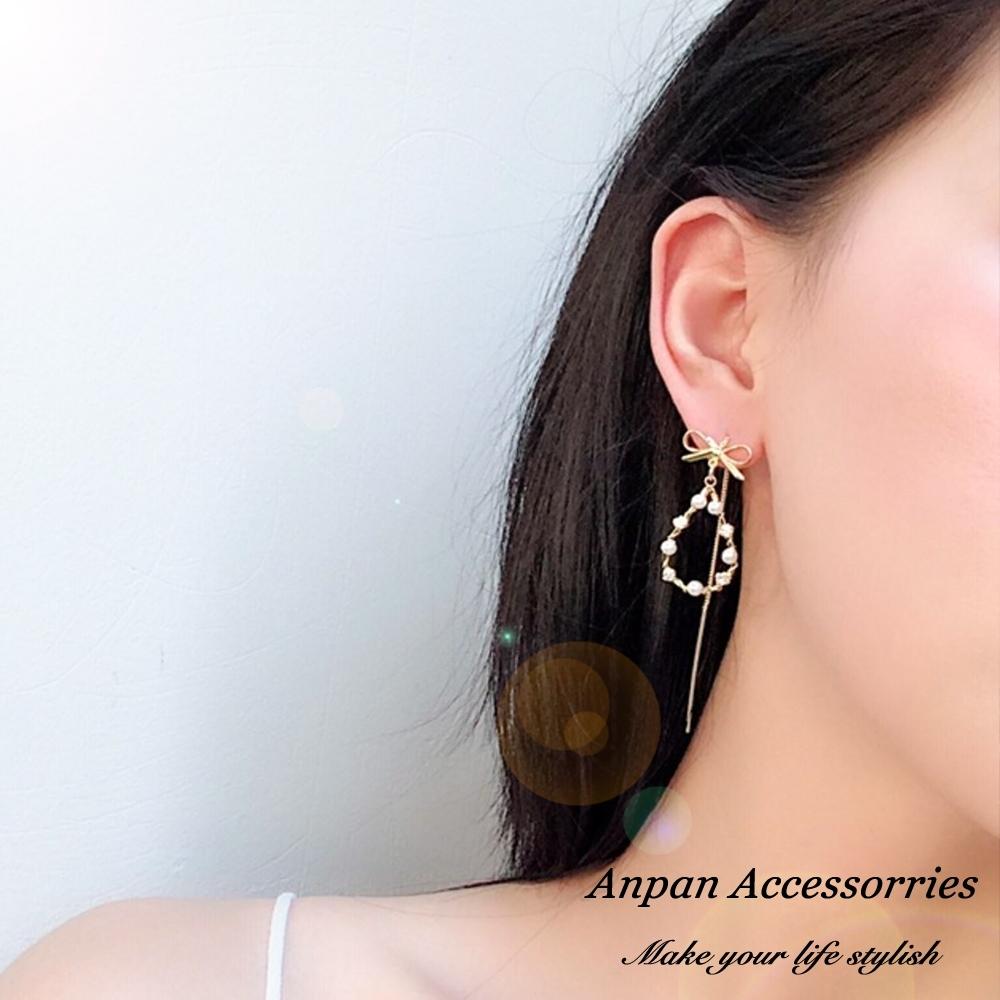 【ANPAN愛扮】韓東大門CHIC甜美少女蝴蝶結珍珠流蘇耳線式耳環