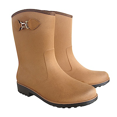 MIT台日專利仿麂皮絨面中筒雨靴(棕色)J-258