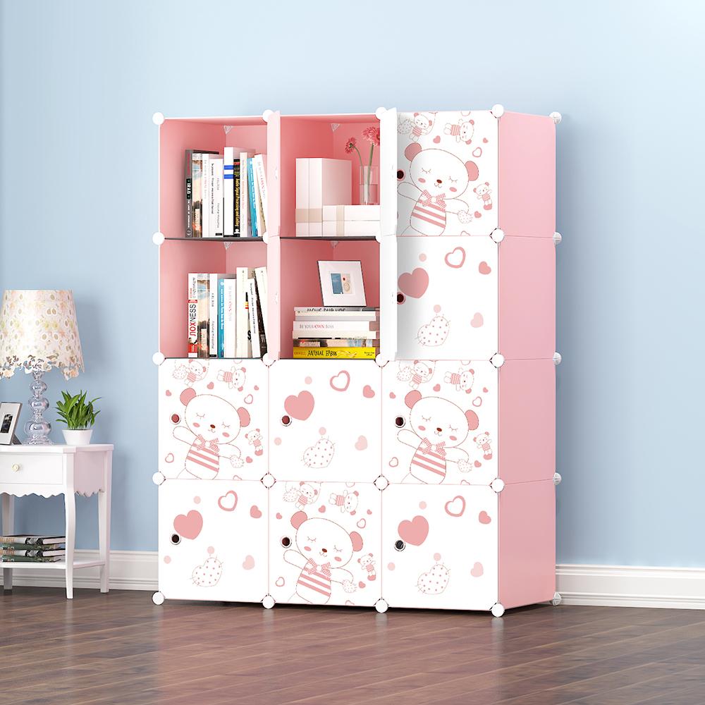 【Mr.Box】加大型12格12門收納櫃/置物櫃/書櫃(粉紅款)