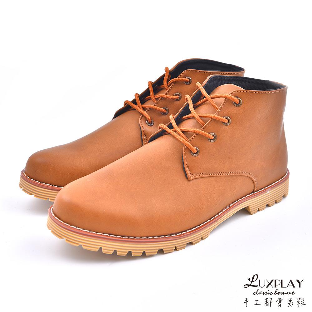 LUXPLAY  英倫時尚 高筒休閒鞋 WK259棕