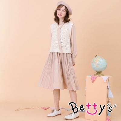 betty's貝蒂思 無袖線衫+雪紡洋裝套裝(卡其)