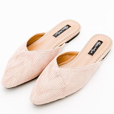 River&Moon素雅絲絨條紋尖頭低跟穆勒鞋*粉