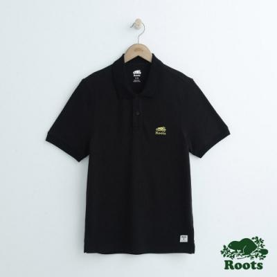 男裝Roots 左胸金繡短袖POLO衫-黑