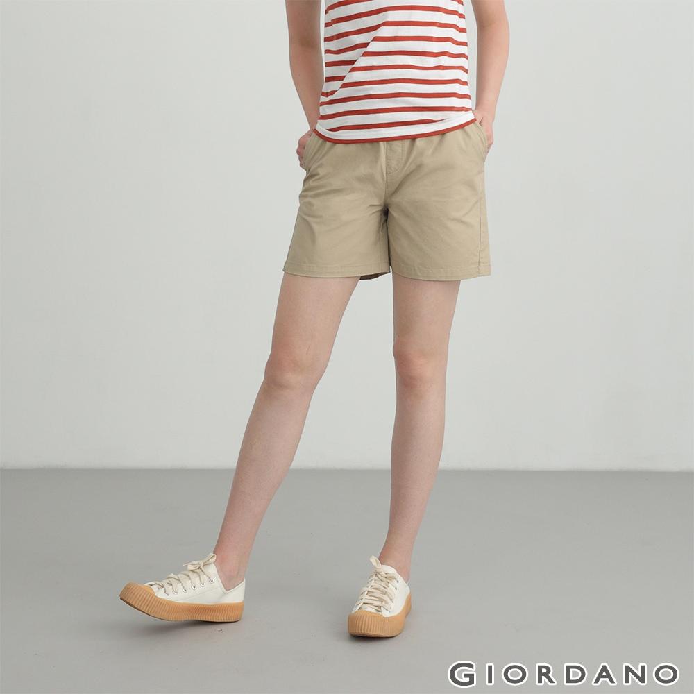 GIORDANO 女裝素色抽繩卡其短褲 - 86 胡椒白