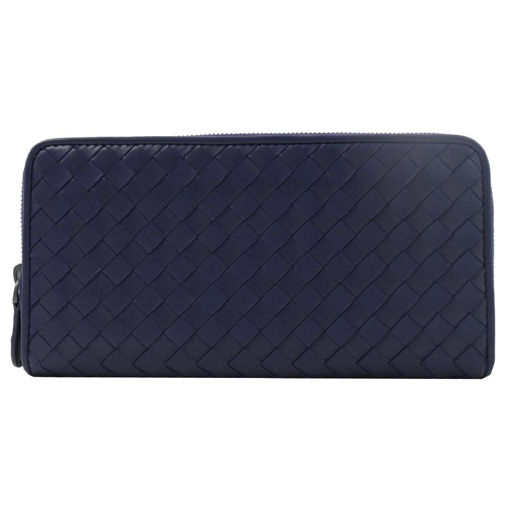 BOTTEGA VENETA編織羊皮窄版ㄇ字拉鍊長夾(深藍)