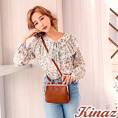 KINAZ 甜蜜約會兩用斜背口金包-香橙橘-森林午茶系列
