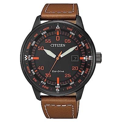 CITIZEN 星辰光動能軍風時尚真皮手錶(BM7395-11E)-黑X咖啡/42mm