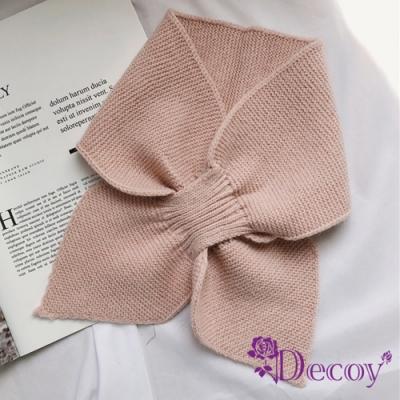 Decoy 軟萌蝴蝶 俏麗交叉針織脖圍短圍巾 粉