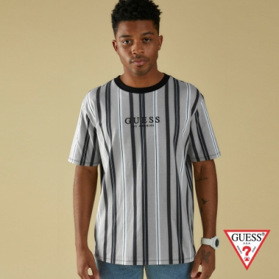 GUESS-男裝-ORIGINALS系列美式直條撞色短T,T恤-灰 原價1490