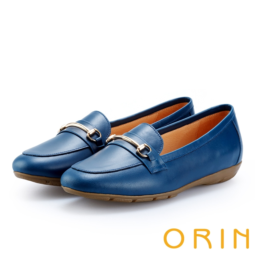 ORIN 復古樂活主義 氣質馬蹄扣牛皮百搭樂福鞋-藍色