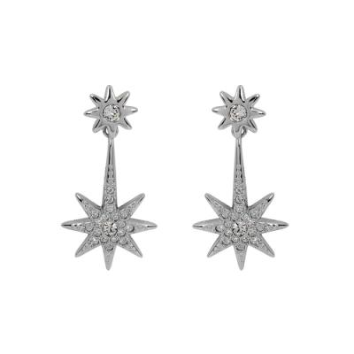 【福利品】SWAROVSKI 施華洛世奇 多角雙星造型銀色水晶垂墜長耳環