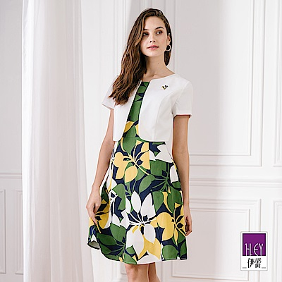 ILEY伊蕾 配色植物紋假兩件洋裝(藍)