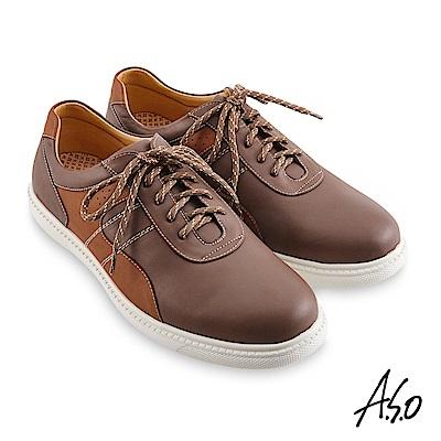 A.S.O機能休閒 輕量抗震拼色綁帶休閒鞋-灰褐