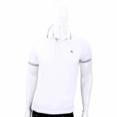 ETRO 飛馬刺繡白色棉質POLO衫