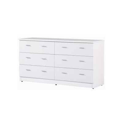 韓菲-白色六屜防潮塑鋼斗櫃151.5x48x81.5cm
