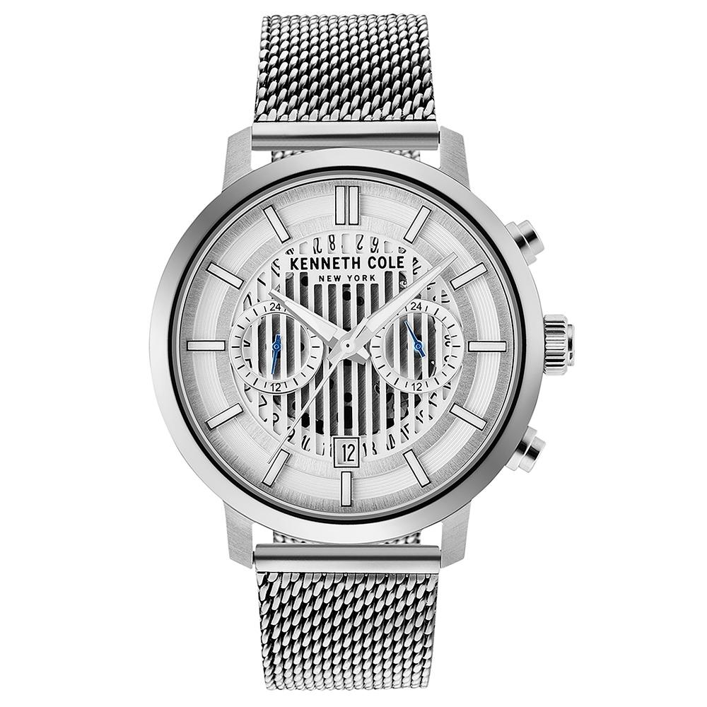 KENNETH COLE 簍空潮流時尚腕錶錶-銀色/42mm