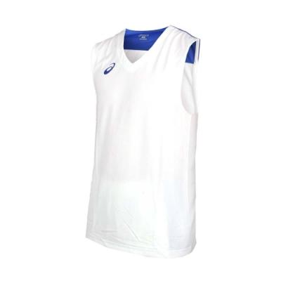 ASICS 男單面籃球背心-球衣 亞瑟士 無袖上衣 白藍