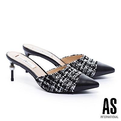 拖鞋 AS 優雅氣質雙色異材質拼接尖頭穆勒高跟拖鞋-黑
