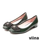 viina 蝴蝶結飾亮眼漆皮低跟鞋-草綠
