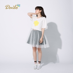 【Dailo】HELLO連身剪接浪漫紗裙T(白色)