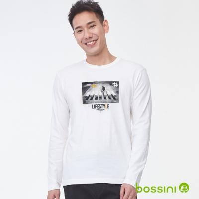 bossini男裝-印花長袖T恤01白