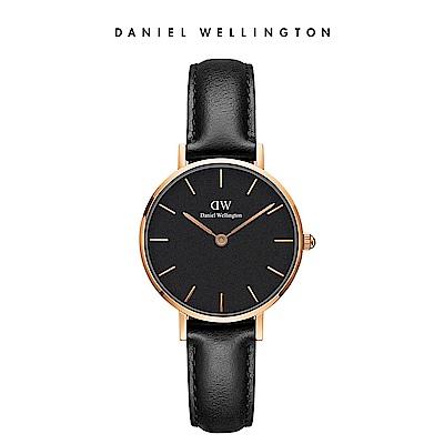 DW 手錶 官方旗艦店 28mm玫瑰金框 Petite 爵士黑真皮皮革錶