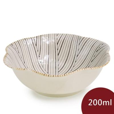 Natural69 波佐見燒  粉引釉 六方押 花形餐碗 十草 200ml 日本製