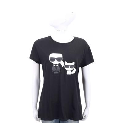 KARL LAGERFELD Ikonik 卡爾貓咪圖案黑色棉質短T恤