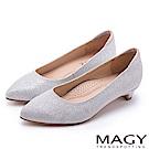 MAGY 簡約奢華風 親膚防磨閃爍夢幻低跟鞋-銀色
