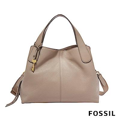 FOSSIL MAYA 柔軟真皮多夾層手提/側背兩用包-奶油駝色