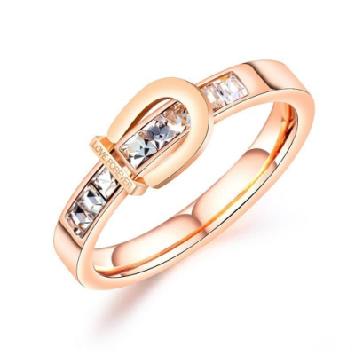 I.Dear飾品-西德鋼-戀戀如初-精緻馬蹄形扣環排鑽晶鑽鈦鋼戒指