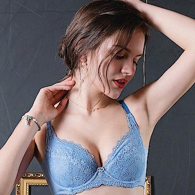 EASY SHOP-柔情蔓戀 大罩杯B-E罩成套內衣(柔情藍)