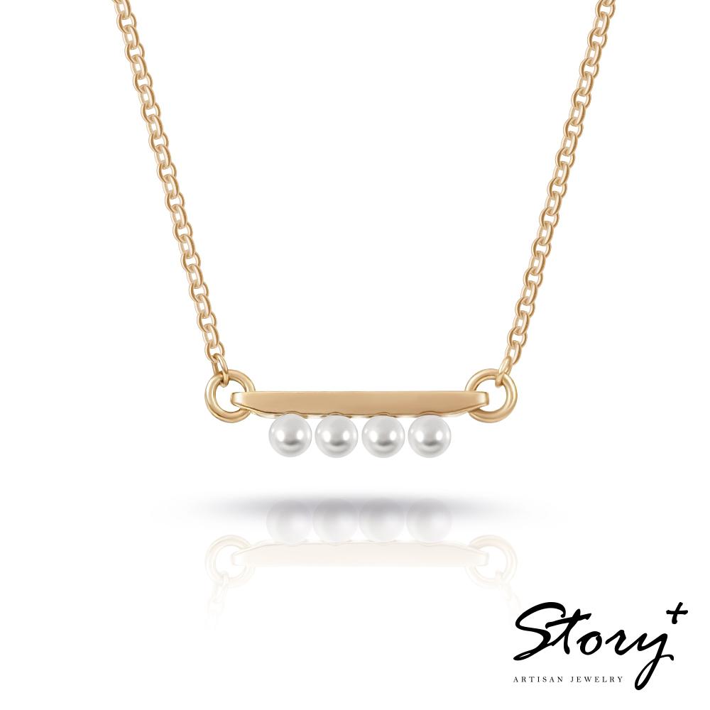 STORY故事銀飾-三重奏Trio-施華洛世奇珍珠項鍊(黃K金)