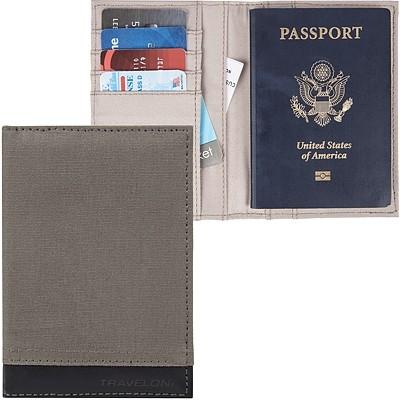 《TRAVELON》皮革拼接護照夾(岩灰)