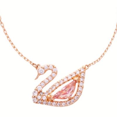 SWAROVSKI 施華洛世奇 DAZZLING SWAN 玫瑰金水晶項鍊