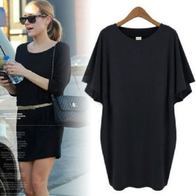 MOCO圓領黑色顯瘦蝙蝠袖連身裙包臀修身減齡棉質洋裝XL~4XL