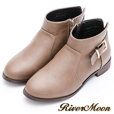River&Moon大尺碼-簡約後釦環及踝短靴-卡其灰