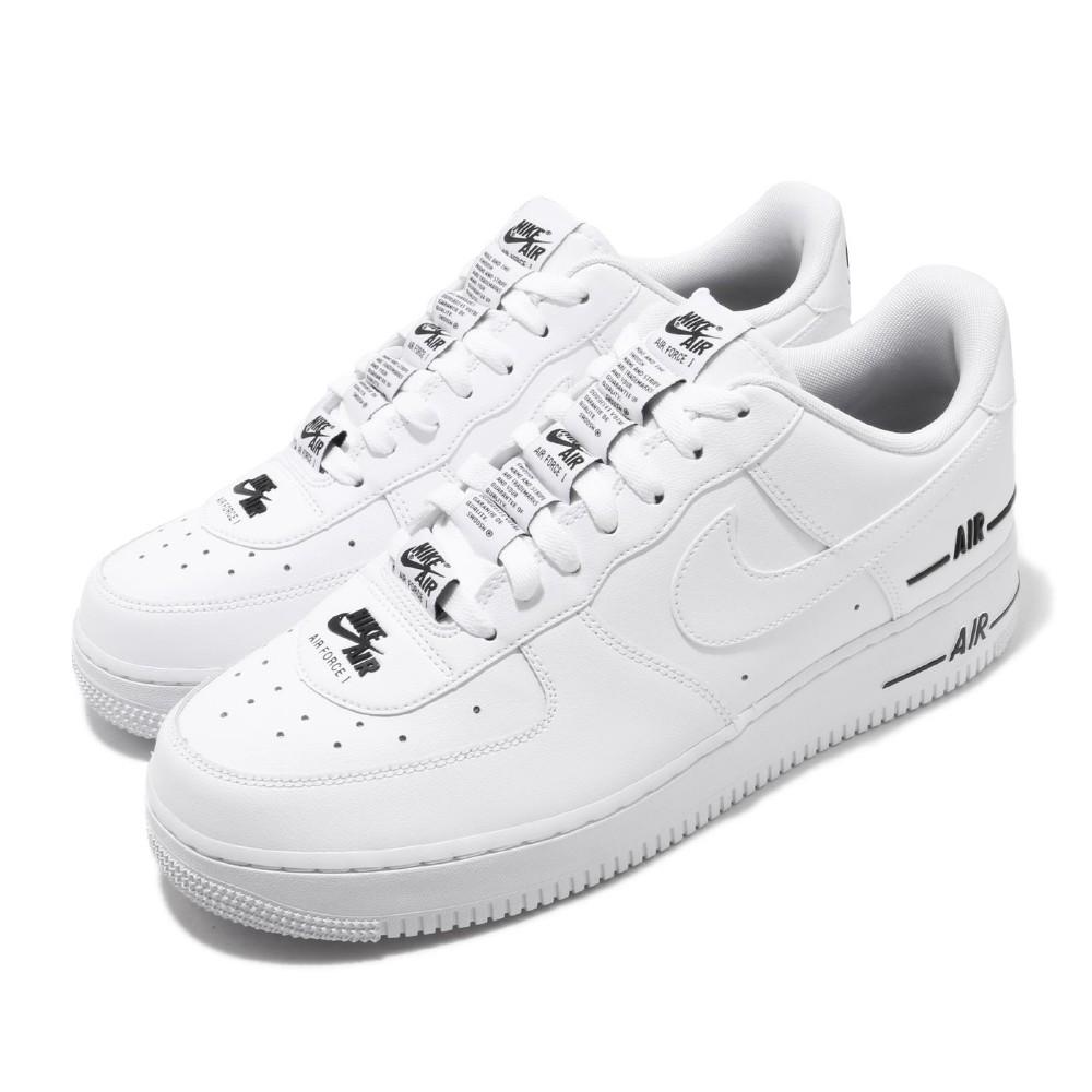 Nike 休閒鞋 Air Force 1 07 運動 男鞋 基本款 皮革簡約 厚底 舒適 串標 白 黑 CJ1379100