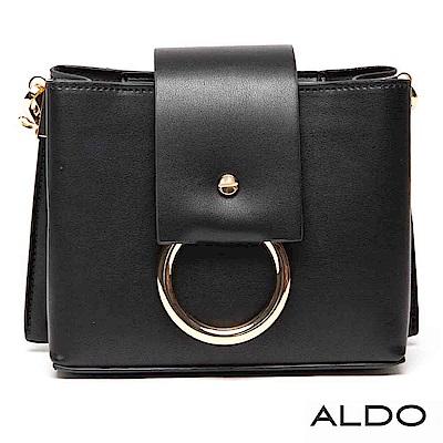 ALDO 原色金屬圓環寬版手提肩背兩用包~尊爵黑色