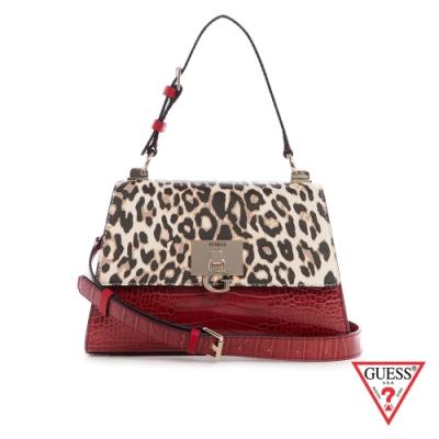 GUESS-女包-時尚豹紋鱷魚紋拼接手提包-紅 原價3490