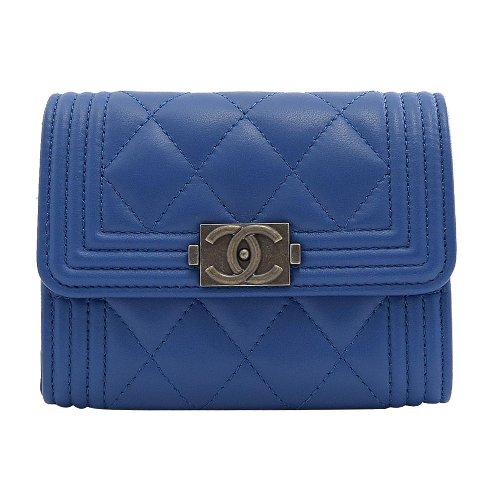 CHANEL BOY系列復古銀羊皮釦式零錢包/名片夾(藍)