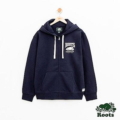男裝Roots 經典連帽外套-藍