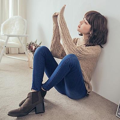 自然刷色腰鬆緊立體中線彈力修身窄管褲-OB大尺碼
